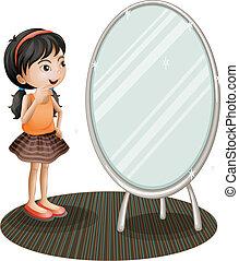 entretela, niña, espejo