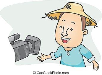 Entrevista de cámara de un granjero