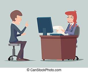 Entrevista de entrevistas de trabajo de entrevistas de trabajo en el escritorio trabajando en personajes de dibujos de dibujos animados con estilo ilustración de vectores de diseño retro de fondo