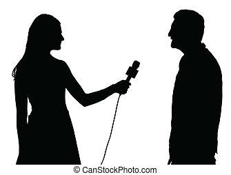 Entrevista de prensa realizada por entrevistadora de mujeres