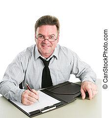 Entrevistador de trabajo amistoso