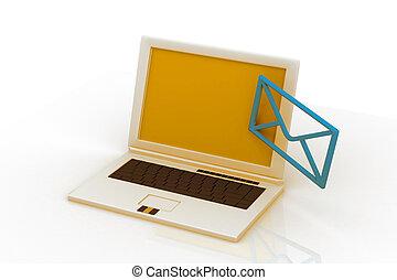 Envía un correo electrónico en una laptop
