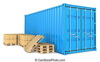 Envase de carga y mercancías.