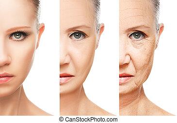 envejecimiento, concepto, aislado, cuidado, piel