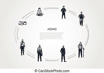 envejecimiento, diferente, viejo, vector, -, concepto, hombre, niño, conjunto, niñez, etapas, edad, infance, adulto