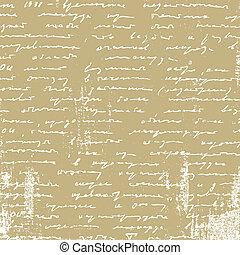 envejecimiento, manuscrito, papel marrón, ilustración, vector