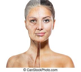 envejecimiento, viejo, concept., joven, skincare, caras, mujeres