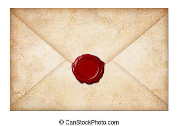 Envoltorio o carta con sello de cera aislado en blanco