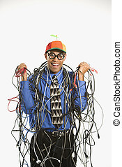 envuelto, hombre, cables.