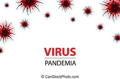 epidemia, social, bandera, horizontal, virus, medios, coronavirus, ilustración