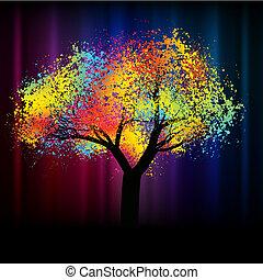.eps, colorido, espacio, resumen, árbol., 8, copia