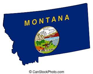 eps, mapa, u..s.., 3d, bandera, ilustración, 10, estado, montana, vector