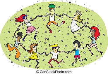 eps10, bailando, gente, joven, ilustración, campo, flowers., vector, verde, mode!, círculo, pasto o césped