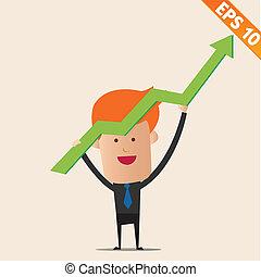 eps10, gráfico, -, ilustración, vector, positivo, hombre de negocios, caricatura