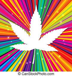 eps10, resumen, cannabis, plano de fondo, vector, hoja, psicodélico