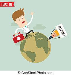 eps10, servicio de emergencia, doctor, -, ilustración, suitecase, vector, llevar