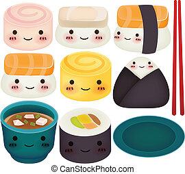 eps10, sushi, -, colección, vector, archivo