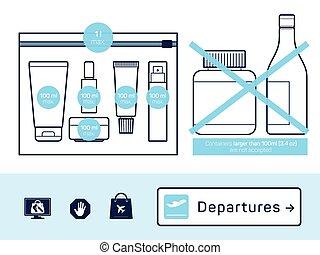 equipaje, líquidos, llevar-en