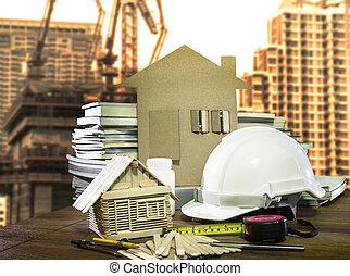 Equipamiento y herramientas hogar y la industria de la construcción utilizan para la arquitectura y el tema de los ingenieros civiles