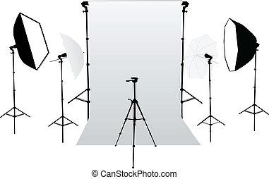 equipm, -, accesorios, foto del estudio