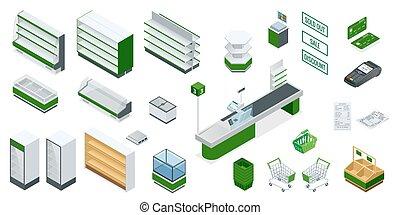 equipment., producto, efectivo, supermercado, imagen, interior, vector, cheque, incluye, muebles, estantes, isométrico, credito, camión, goods., explorador, pago, plan., compra, tarjeta, dinero, clases, diferente