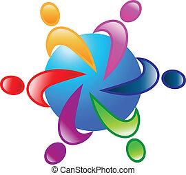 Equipo 6 alrededor del logo vector mundial