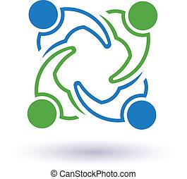 Equipo 7 Congreso. Concepto grupo de personas conectadas, amigos felices, ayudándose mutuamente. Ícono Vector