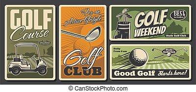 equipo, actividad, clubes, deporte del ocio, golf