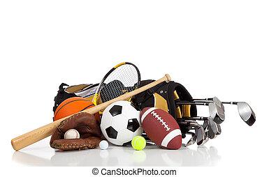equipo, blanco, deportes, plano de fondo, variado