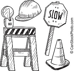 equipo, bosquejo, construcción, camino