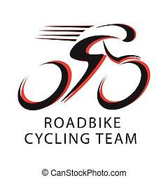 equipo, ciclismo, bicicleta, logotipo, camino