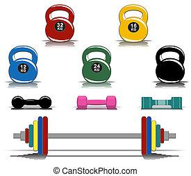 equipo, colorido, condición física