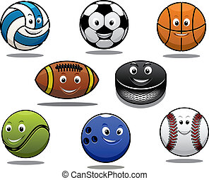 Equipo de bolas deportivas de dibujos animados