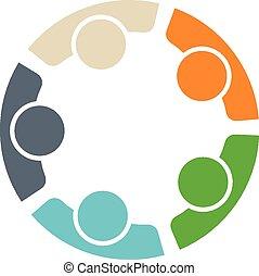 Equipo de cinco personas logotipo