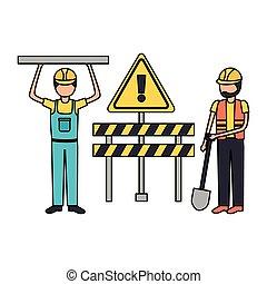 Equipo de construcción de trabajadores