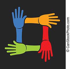 Equipo de cuatro manos