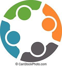 Equipo de cuatro personas. Concepto el grupo de gente que conoce colaboración y un gran trabajo.