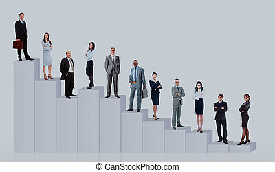 Equipo de la gente de negocios y diagrama. Aislado sobre fondo blanco.