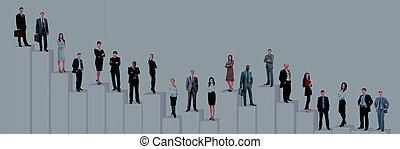 Equipo de la gente de negocios y diagrama. Aislado sobre fondo blanco