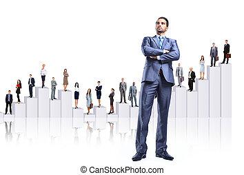 Equipo de la gente de negocios y diagrama