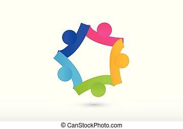 Equipo de Logo con la colaboración de la mano y ayudar a la gente