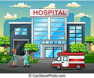 Equipo de médicos delante del hospital
