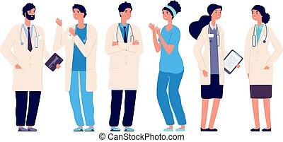 Equipo de médicos. Médicos médicos, enfermeros, cirujanos profesionales, médicos, vectores de dibujos animados