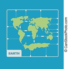 Equipo de modelos de plástico de mapas. Geografía Continentes del planeta Tierra