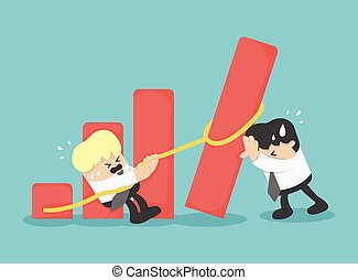 Equipo de negocios ayudar a caer gráfico