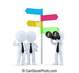 Equipo de negocios con binoculares en frente de una señal de dirección. Un concepto de negocios