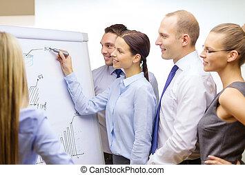 Equipo de negocios con Flipboard teniendo una discusión