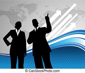 Equipo de negocios con mapa mundial