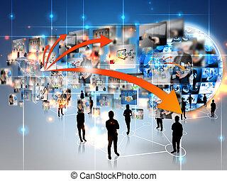 Equipo de negocios con mundo de negocios, conectado