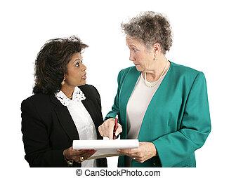 Equipo de negocios, discusión